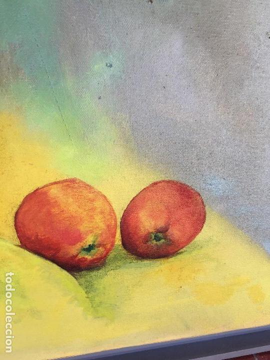Arte: óleo sobre lienzo carmen camba morla copa azul con manzanas 1990 - Foto 7 - 122841839