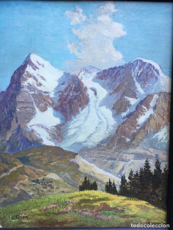 Arte: Leonardo Roda (1868-1933) Pintor Italiano - Óleo sobre tela pegada a cartón - Paisaje con montañas - Foto 2 - 122913439