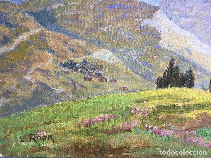 Arte: Leonardo Roda (1868-1933) Pintor Italiano - Óleo sobre tela pegada a cartón - Paisaje con montañas - Foto 4 - 122913439