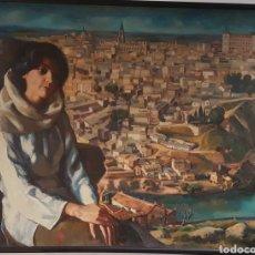 Arte: IMPRESIONANTE RETRATO CON TOLEDO AL FONDO. Lote 122958642