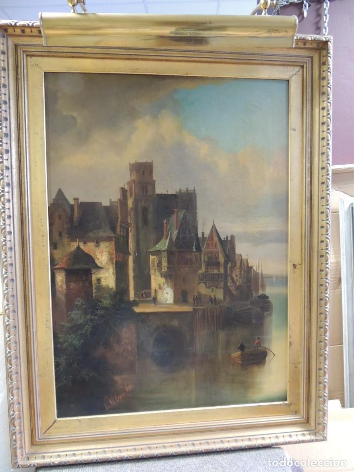 CUADRO OLEO ANTIGUO SOBRE LIENZO FIRMADO L M LEPIE 1876 (Arte - Pintura - Pintura al Óleo Moderna siglo XIX)