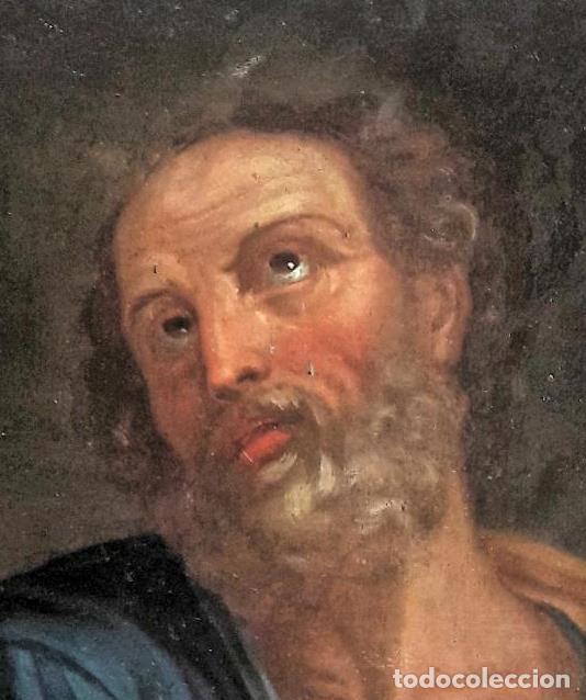 Arte: Óleo sobre lienzo del siglo XVIII representando a San Pedro - Foto 2 - 123099371