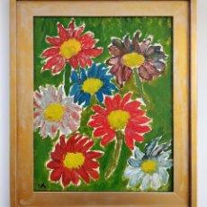 Arte: OSKAR KOKOSCHKA, MARAVILLOSAS FLORES, OLEO / TABLA, FIRMADO OK, KLIMT, SCHIELE, LIEBEN ART COLLETION. Lote 160654940