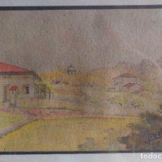 Arte: CUADRO DIBUJO COLOREADO PAISAJE DE ARTISTA DESCONOCIDO FIRMA ILEGIBLE. Lote 123205368
