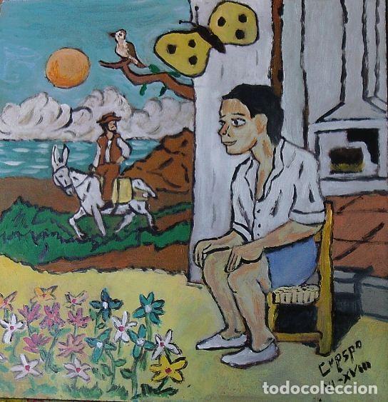 ESCENAS DE PLATERO: EL NIÑO TONTO (V), ÓLEO SOBRE MADERA 40X40 CM. AUTOR CRESPO (Arte - Pintura Directa del Autor)