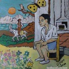 Arte: ESCENAS DE PLATERO: EL NIÑO TONTO (V), ÓLEO SOBRE MADERA 40X40 CM. AUTOR CRESPO. Lote 123293915
