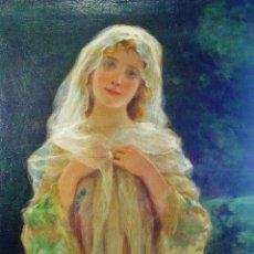 Arte: JOVEN CON VELO. ANTONI TORRES FUSTER (1874-1945). ÓLEO LIENZO. FIRMADO. ENMARCADO. MODERNISTA. . Lote 123343363