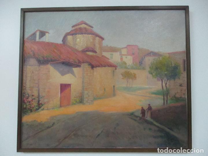 ÓLEO SOBRE TELA - PAISAJE CON NIÑOS - FIRMA J. PONS - AÑO 1941 (Arte - Pintura - Pintura al Óleo Moderna sin fecha definida)