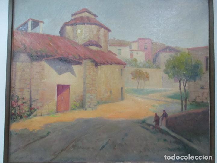 Arte: Óleo sobre Tela - Paisaje con Niños - Firma J. Pons - Año 1941 - Foto 2 - 149018630