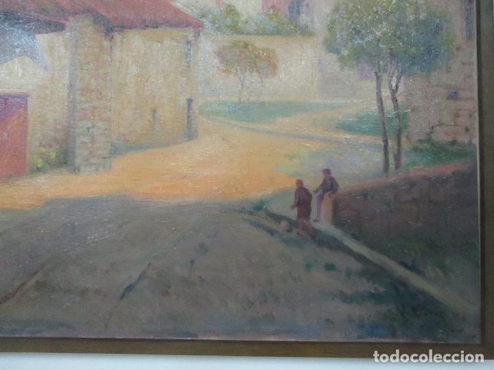 Arte: Óleo sobre Tela - Paisaje con Niños - Firma J. Pons - Año 1941 - Foto 3 - 149018630