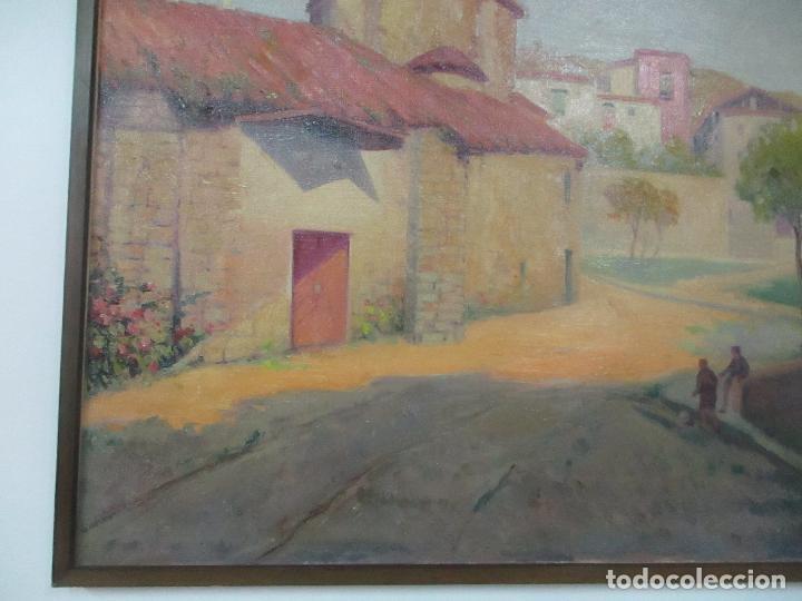 Arte: Óleo sobre Tela - Paisaje con Niños - Firma J. Pons - Año 1941 - Foto 4 - 149018630