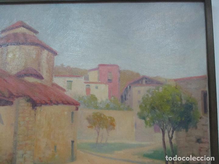 Arte: Óleo sobre Tela - Paisaje con Niños - Firma J. Pons - Año 1941 - Foto 5 - 149018630