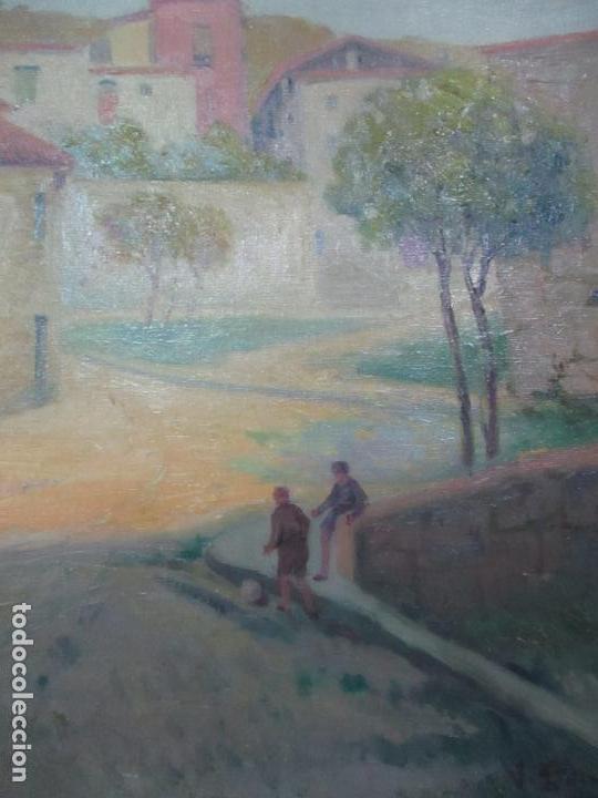 Arte: Óleo sobre Tela - Paisaje con Niños - Firma J. Pons - Año 1941 - Foto 7 - 149018630