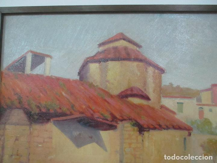Arte: Óleo sobre Tela - Paisaje con Niños - Firma J. Pons - Año 1941 - Foto 8 - 149018630
