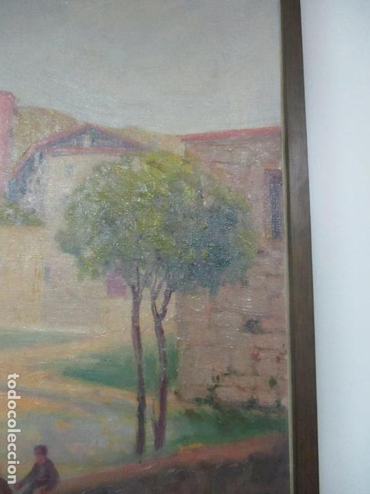 Arte: Óleo sobre Tela - Paisaje con Niños - Firma J. Pons - Año 1941 - Foto 9 - 149018630