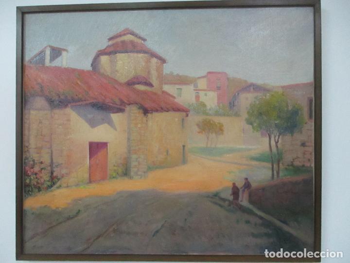 Arte: Óleo sobre Tela - Paisaje con Niños - Firma J. Pons - Año 1941 - Foto 11 - 149018630