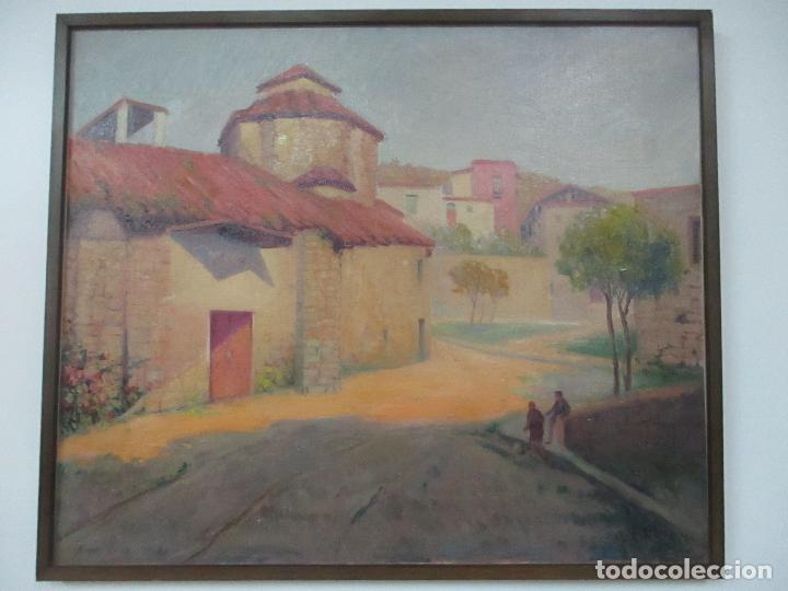 Arte: Óleo sobre Tela - Paisaje con Niños - Firma J. Pons - Año 1941 - Foto 13 - 149018630
