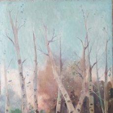 Arte: JOSEP MARIA MARQUÉS GARCIA SIGLO XIX-XX, ÓLEO PAISAJE BOSQUE CASA EN LLAMAS. Lote 123357118