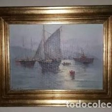 Arte: OLEO MARINA MANUEL CASANOVA VICUÑA. Lote 123400159