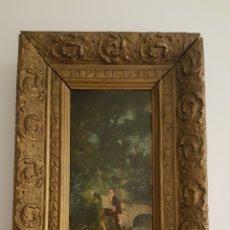 Arte: PERSONAJE DECLAMANDO EN UN JARDÍN, ÓLEO DE M.P. MEDINA (1904). Lote 123429031