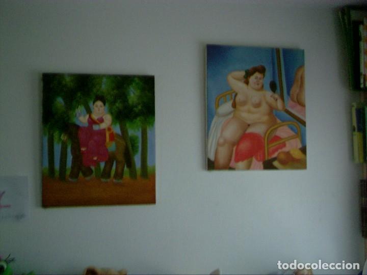Arte: Fernando Botero: Desnudo. Reproducción al Oleo sobre lienzo montado en bastidor de 53x63cms - Foto 3 - 123540623