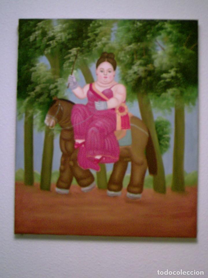 Arte: Fernando Botero: Primera Dama. Reproducción al Oleo sobre lienzo montado en bastidor de 53x63cms - Foto 2 - 123542699