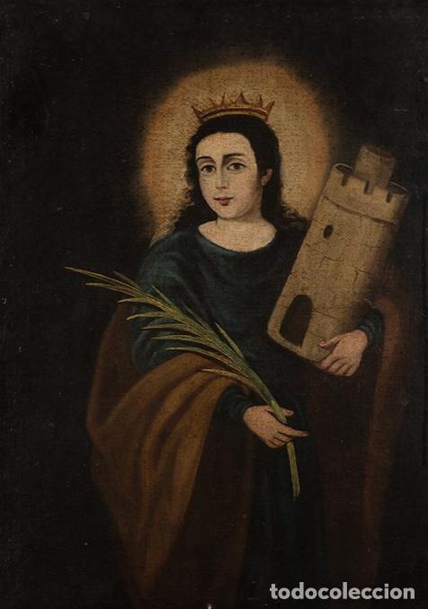 ÓLEO S/LIENZO-SANTA BÁRBARA-. ESCUELA ESPAÑOLA SIGLO XVIII. DIMENSIONES 84X62 CMS. (Arte - Pintura - Pintura al Óleo Antigua siglo XVIII)