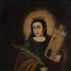 Arte: ÓLEO S/LIENZO-SANTA BÁRBARA-. ESCUELA ESPAÑOLA SIGLO XVIII. DIMENSIONES 84X62 CMS.. Lote 123549371