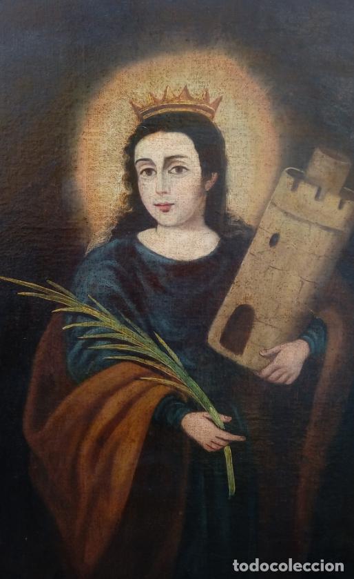 Arte: ÓLEO S/LIENZO-SANTA BÁRBARA-. ESCUELA ESPAÑOLA SIGLO XVIII. DIMENSIONES 84X62 CMS. - Foto 2 - 123549371