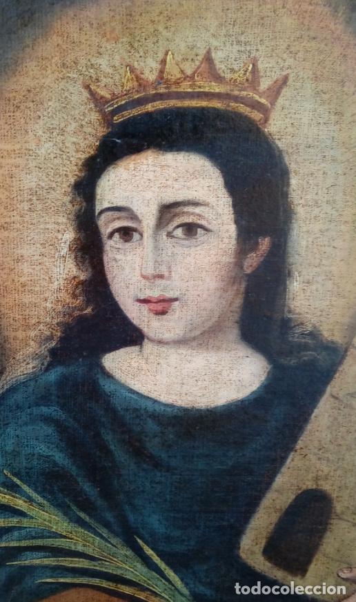 Arte: ÓLEO S/LIENZO-SANTA BÁRBARA-. ESCUELA ESPAÑOLA SIGLO XVIII. DIMENSIONES 84X62 CMS. - Foto 3 - 123549371