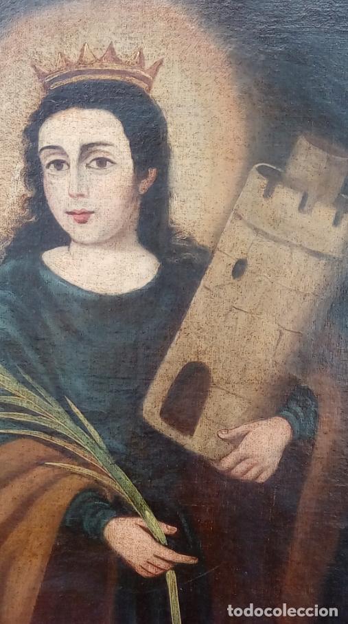 Arte: ÓLEO S/LIENZO-SANTA BÁRBARA-. ESCUELA ESPAÑOLA SIGLO XVIII. DIMENSIONES 84X62 CMS. - Foto 6 - 123549371