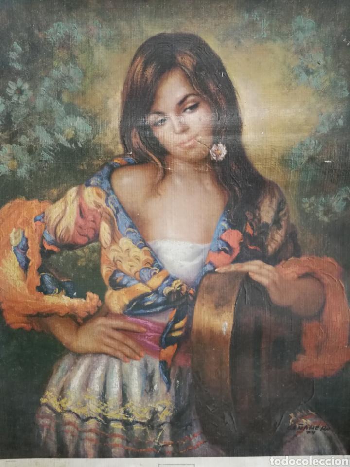ÓLEO SOBRE LAMINA PEGADA A LIENZO DE SACO CAÑAMERO (Arte - Pintura - Pintura al Óleo Antigua sin fecha definida)