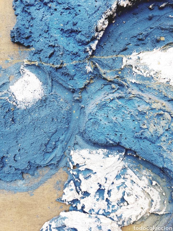 Arte: Intereesante tecnica mixta sobre arpillera, firma ilegible, gran formato 80x100cm. Con marco. - Foto 2 - 123636715
