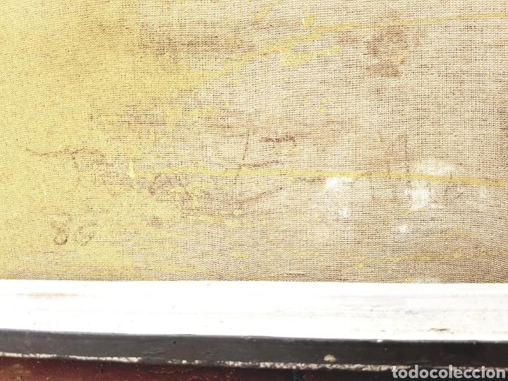 Arte: Intereesante tecnica mixta sobre arpillera, firma ilegible, gran formato 80x100cm. Con marco. - Foto 3 - 123636715