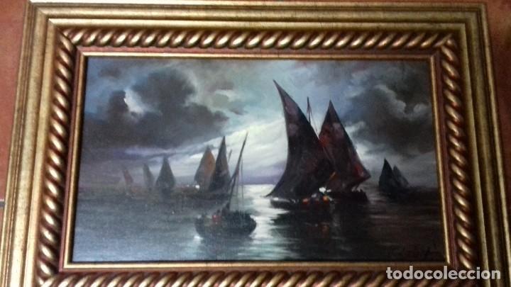 MARINA DE JOLOGA. LIENZO 46X27. MARCO DE REGALO NUEVO. (Arte - Pintura - Pintura al Óleo Contemporánea )