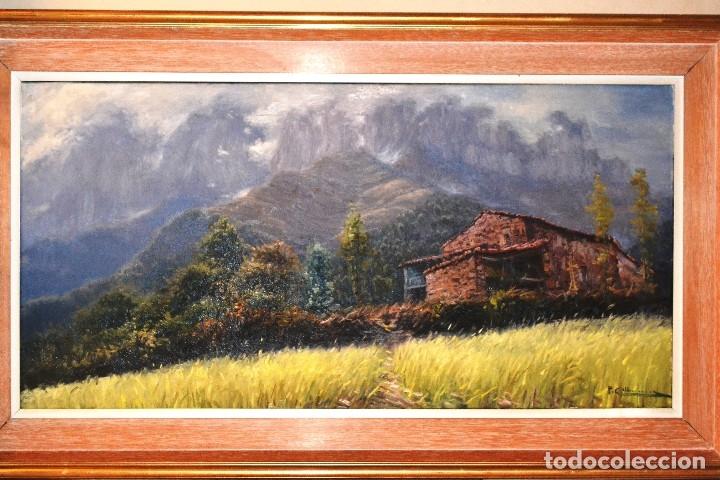 Arte: pere colldecarrera Olot 1934. Paisaje de Joanetes , Olot 100 x 50 - Foto 2 - 92126705
