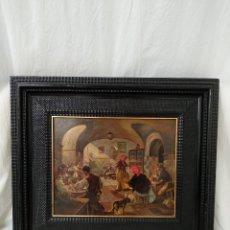 Arte: ALEGRE ESCENA DE TABERNA ANDALUZA - OLEO SOBRE TABLA - MARCO DE CALIDAD - COSTUMBRISTA -. Lote 124180843