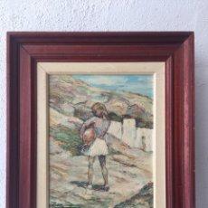 Arte: ÓLEO DEL GRAN PINTOR ALMERIENSE ROBLES CABRERA - NIÑA AGUADORA. Lote 124192515
