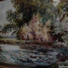 Arte: ESTANQUE CON NENUFARES - OLEO SOBRE LIENZO - S.XIX FIRMADO. Lote 124224590