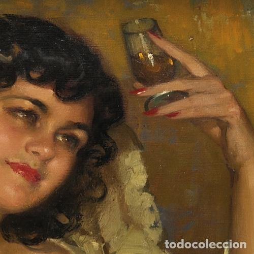 Arte: JOSÉ CRUZ HERRERA . Magnífico Óleo sobre lienzo Firmado. Gran Retrato femenino desnudo - Foto 4 - 64028379