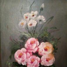 Arte: PRECIOSAS FLORES, OLEO SOBRE TABLA. Lote 124305420