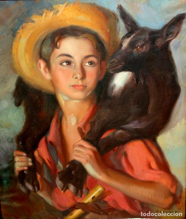 PERE SEGIMON CISA (BARCELONA, 1904 - BARCELONA, 1976) OLEO SOBRE TELA. NIÑO CON CORDERO (Arte - Pintura - Pintura al Óleo Contemporánea )
