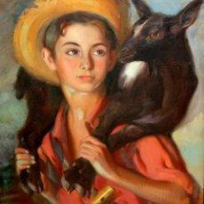 Arte: PERE SEGIMON CISA (BARCELONA, 1904 - BARCELONA, 1976) OLEO SOBRE TELA. NIÑO CON CORDERO. Lote 124402079