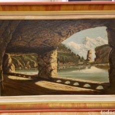 Arte: A. RUICARVIA, OLEO SOBRE LIENZO DE GRAN CALIDAD, VISTA DE PUEBLO COSTERO, MAR. FIRMADO Y ENMARCADO.. Lote 124435296