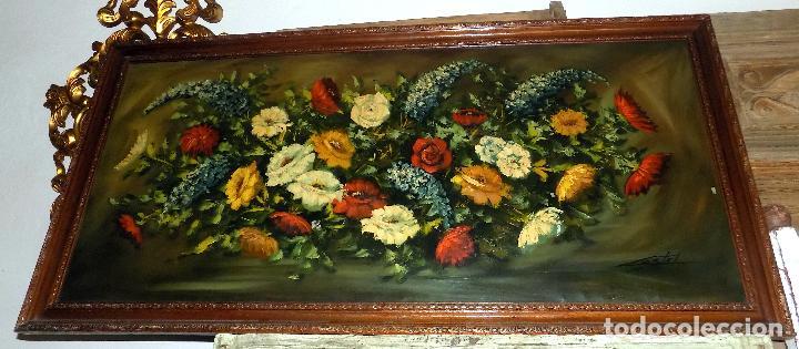 Arte: bodegon flores,oleo sobre lienzo. firmado castel, medidas 141 x 71 ver fotos y descripcion - Foto 3 - 124436931