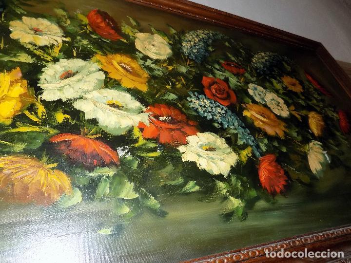 Arte: bodegon flores,oleo sobre lienzo. firmado castel, medidas 141 x 71 ver fotos y descripcion - Foto 4 - 124436931