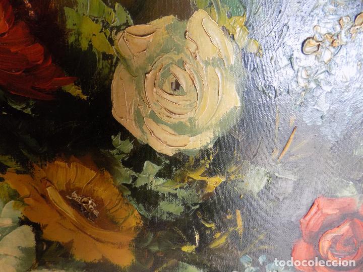 Arte: bodegon flores,oleo sobre lienzo. firmado castel, medidas 141 x 71 ver fotos y descripcion - Foto 8 - 124436931