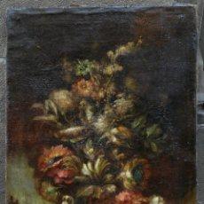 Arte: MICHELE VIANA, BODEGÓN, FLORES, PÁJAROS, LAGO, SIGLO XIX, ITALIA. 50,5X74CM. Lote 124495007