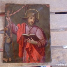 Arte: PINTURA PINTADO AL OLEO SOBRE PLACA DE COBRE APOSTOL SANTIAGO ?? FIRMADO ZONAS A RESTAURAR. Lote 124502571