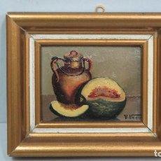 Arte: BONITO BODEGON. MINIATURA. OLEO S/ TABLA. FIRMADO. Lote 124515443
